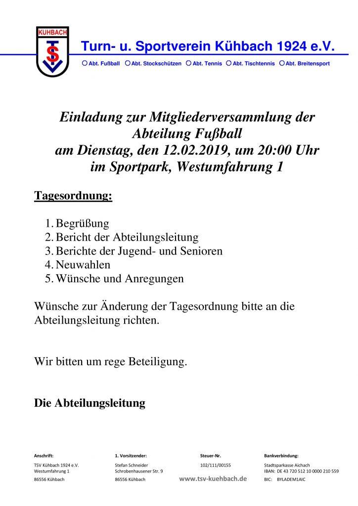 Mitgliederversammlung der Abteilung Fußball am Dienstag, den 12.02.2019