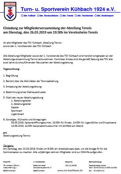 Mitgliederversammlung der Abteilung Tennis am Dienstag, den 26.03.2019