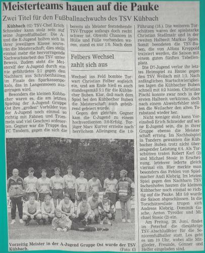 A-Jugend Meister 1995-96