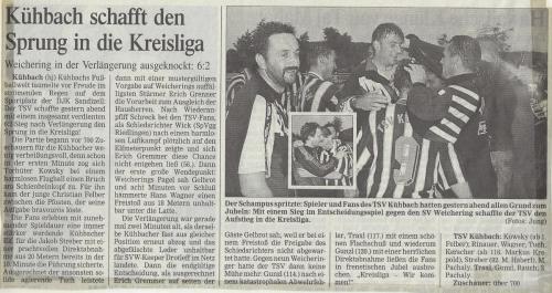 Aufsteiger in die Kreisliga Ost 1998-99 2