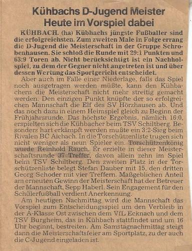 D-Jugend 1979 Bericht